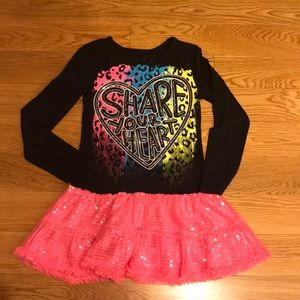 Justice girls long sleeve top with attached skirt